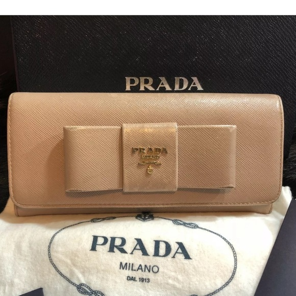 1c41a407dc29ee Prada Bags | Cammeo Saffiano Leather Flap Wallet With Bow | Poshmark